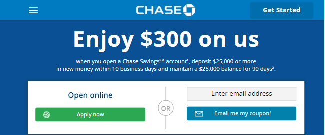 Chase $300 Savings Bonus