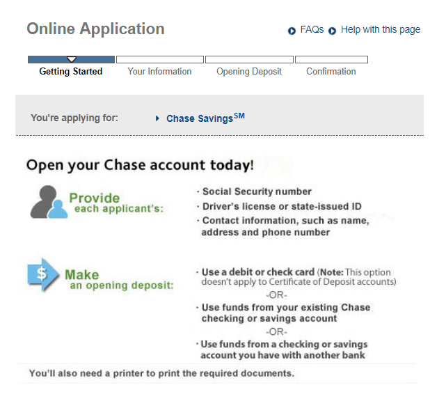 Chase Savings Online Application